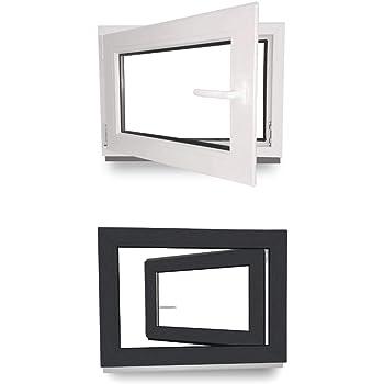 Dreh Kipp Isolierglas Kunststofffenster Kellerfenster Fenster Breite: 90 cm wei/ß 2 fach Verglasung BxH: 90x40 cm DIN Links Premium