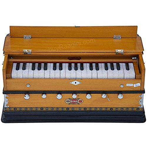 Harmonium Musical Instrument, BINA No. 8, 7 Stops, 3 1/4 Octaves, Coupler, Tuned To A400, Double Reed, Natural Color, Book, Nylon Bag (PDI-DJF)