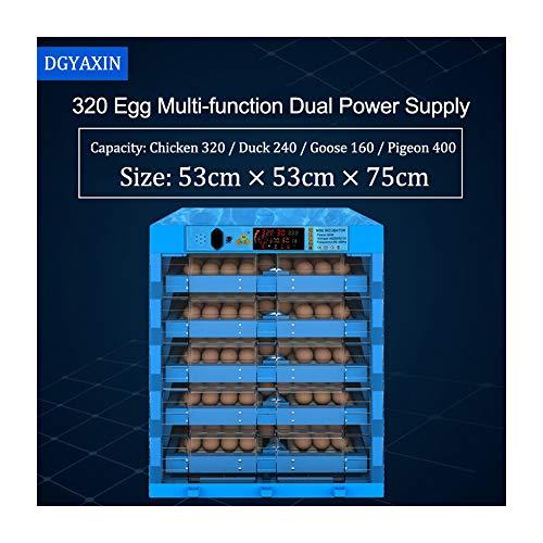 DGYAXIN Incubadora, Incubadoras de Huevos Automáticos, Doble Poder con Control de Temperatura volteo Digital automatico, Pollos Patos y Codornices la Incubación de los Huevos de Granja,320Eggs