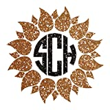 GLITTER VERSION Sunflower with Circle Initial Monogram Car Decal