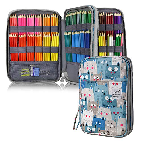 YOUSHARES 192 Slots Colored Pencil Case, Large Capacity Pencil Holder Pen Organizer Bag with Zipper for Prismacolor Watercolor Coloring Pencils, Gel Pens for Student & Artist (Big-Faced Cat)