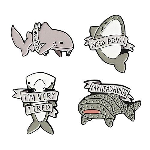 MOTZU 4 Pieces Ocean Animal Brooches Pins, Unisex Enamel Pin,Whale Shark Lettering Pins Women's Brooches Set, Daily use Brooches, Metal Enamel Pins,Animal Brooch,Great for Wife/Sisters/Friends
