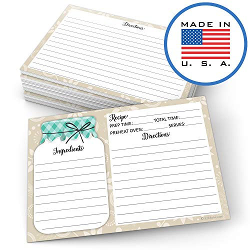 "321Done Mason Jar Recipe Cards (Set of 50) Rustic 4"" x 6"" Double-Sided Premium Card Stock - Made in USA - Rustic Green and Tan, Large"