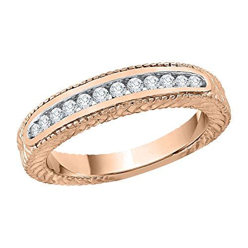 KATARINA Alianza de boda de diamantes en oro rosa de 14 k (1/4 quilates, J-K, SI2-I1) (tamaño 8)
