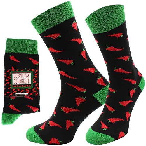 CHiLI Lifestyle Socks - Motivsocken - Lustige Socken - Bunte Socken - Witzige Socken - verrückte, modische & ausgefallene Socken - Geschenkidee - Baumwolle - Variation: Chili, 36-40