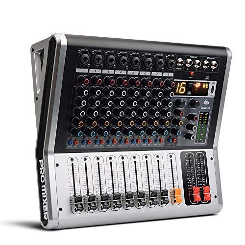 Weiming Professional Studio Mischpulte 8-Kanal-Audio-Mixer mit Mute und PFL-Schalter, USB-DJ-Mixer 16 DSP-Effekt
