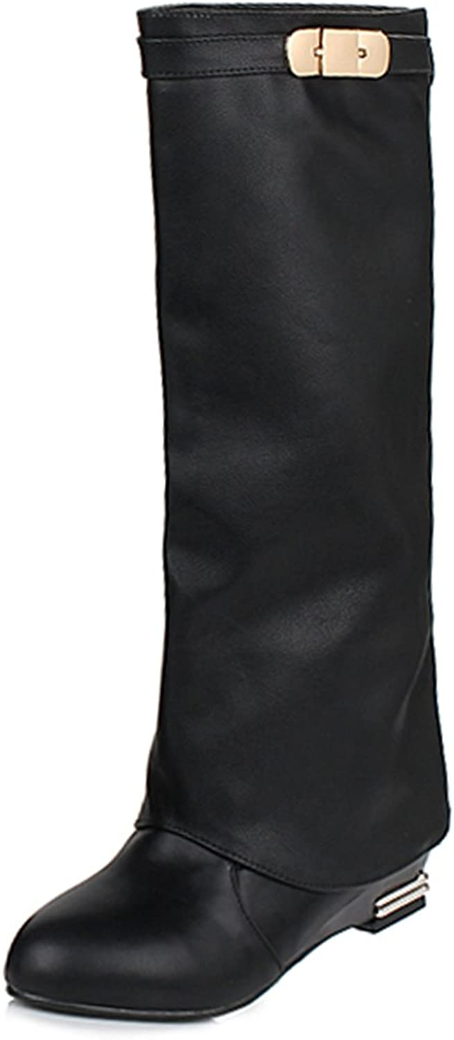 AIWEIYi Womens Knee High Motorcycle Riding Boots Black