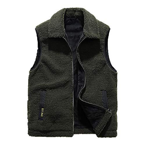 Chaleco de lana de cordero de imitación suelto y cálido sin mangas, chaqueta unisex, chaleco de solapa para ocio, deportes, viajes, adecuado para otoño e invierno, verde militar, XL
