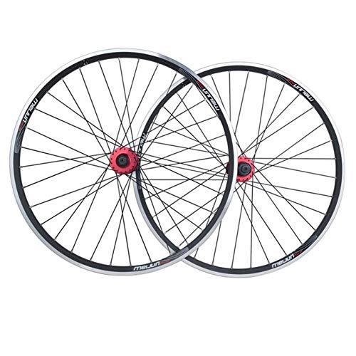 ZNND 26 Ruedas Bici, Ruedas Bicicleta, Llanta MTB Doble Pared Liberación Rápida Freno Disco/V Rueda Ciclismo Montaña 32 Hoyos 7 8 9 10 11 Velocidad (Color : Black)
