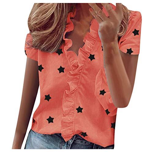TOFOTL Blusenshirt Damen Kurzarm, Damen V-Ausschnitt Rüschen Stern gedruckt Kurzarm T-Shirt Damen Bluse Shirts Tops