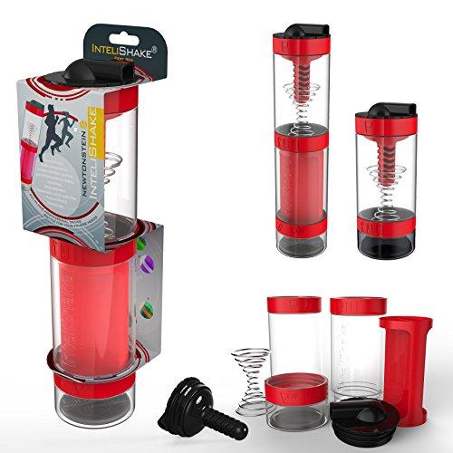 Intelishake - Multi-Compartiments à Puce protéine/entraînement/agitateur jus Bouteille (2 x 500ml) avec de l'eau du Filtre de Carbone pour Le Sport, l'exercice et la Salle de Gym - Fiery Rouge