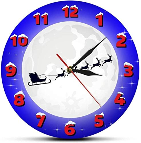 LTBWFDC Santa Claus in sleigh with snow moon Christmas time clock Santa Claus and reindeer wall decoration family clock Merry Christmas wall clock 30 x 30 cm