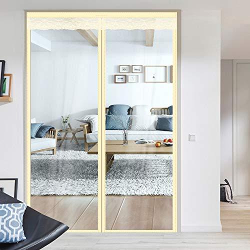 Insulated Door Curtain,Thermal Door Cover EVA Magnetic Screen Door Warm Winter Cool Summer,Pet/Kids Walk Through Freely-for French Door, Patio , Sliding Door (72 x 80 inch, Beige Transparent Styles)