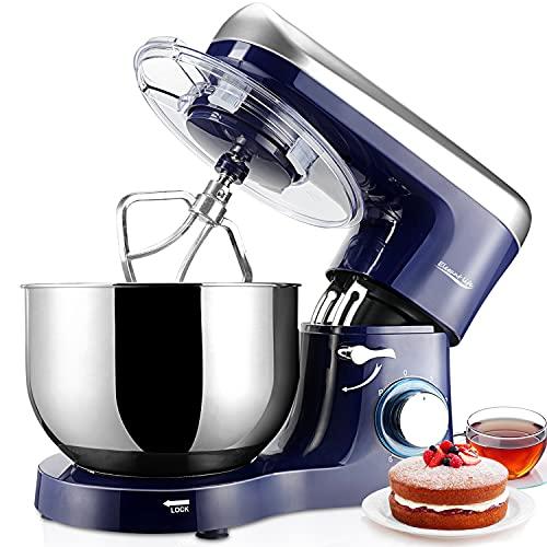Robot Pâtissier 1500W, 5.5L Elegant Life Robot de Cuisine, Batteur sur socle, Vitesse à 6 Niveaux, Bol en Acier Inoxydable, Batteur, Fouet, Crochet, Noir et Blanc