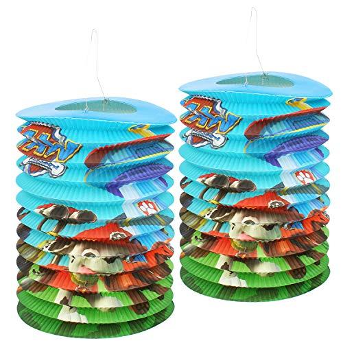 PAW PATROL 2X Laterne für Sankt Martin und Halloween - Papierlaterne mit Motiv von den Hunden aus der Nickelodeon Serie Martinslaterne für Kinder (02 Stück - Ø 26cm)