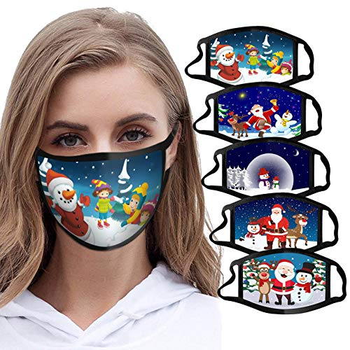 5PC Adult Cute Fashion Christmas Face Bandanas Reusable Face Macks Washable Xmas Covering Mouth Guard (5PCS, g)