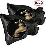 SUNDOKI Outdoor Faucet Covers, Outside Pipe Cover Protector Socks for Winter Wall Water Spigot (2 Pieces-Black)