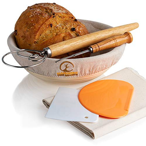 10 Inch Banneton Bread Proofing Basket Set - Includes Bread Lame, Linen Baking Couche, Dough Whisk, 2 x Dough Scrapers, Basket Liner - Brotform Rattan Basket for Bread Baking