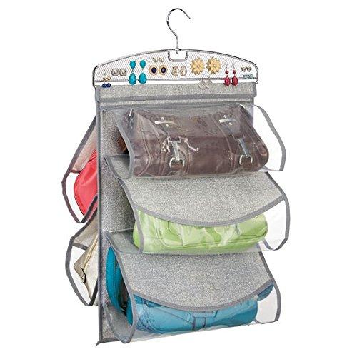 mDesign hangorganizer voor het opbergen van handtassen – 5 zakken bieden plaats aan handtassen, clutches & Co. - Zakgarderobe van grijze kunststof in jute textuur