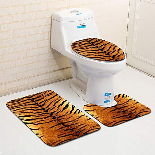 Mdsfe 3 Stück/Set Leoparden- und Tigermuster-Badematte WC-Teppich Badezimmer Weiche Absorptionsmatten - B.