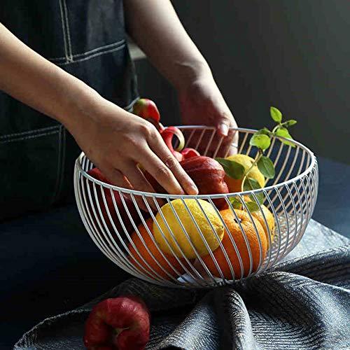 KICCOLY Cesta de frutero de mostrador, diseño Decorativo de Alambre de Acero Inoxidable de frutero...