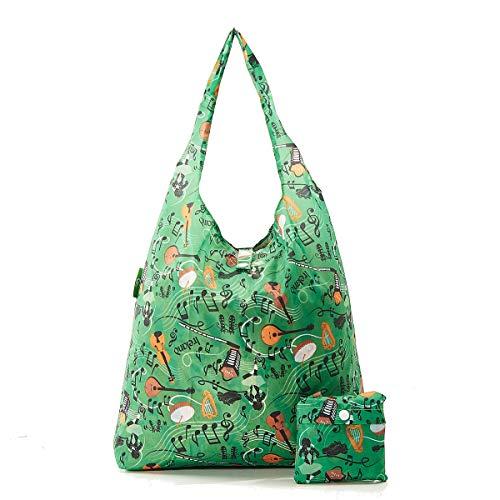 Einkaufstasche, 2020 Design, umweltfreundlich, 100 % recycelter Kunststoff, faltbar, wiederverwendbar, plastik, Irish Music - Grün, Einheitsgröße