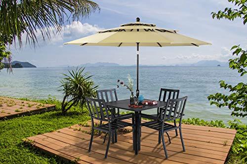 "MFSTUDIO 37"" Metal Steel Slat Patio Dining Table Square Backyard Bistro Table Outdoor Furniture Garden Table, 1.57"" Umbrella Hole, Black"