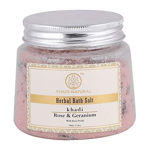 KHADI NATURAL Ayurvedic Rose Geran W Rose Petals Bath Salt, 200g