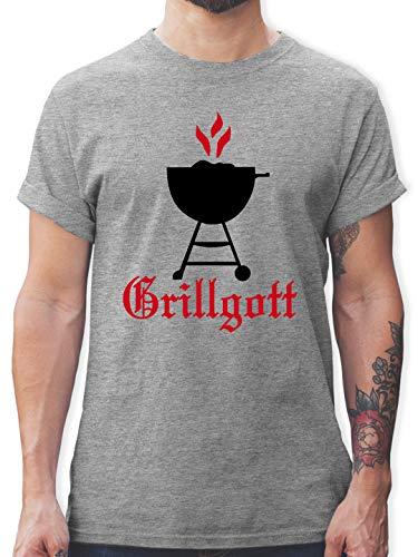Grill - Grillgott - M - Grau meliert - Grill t Shirt Herren - L190 - Tshirt Herren und Männer T-Shirts