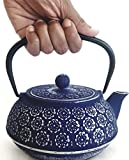 Cast Iron Teapot With Stainless Steel Infuser   1 L / 32 oz   Tea Kettle Maintains Temperature   Non Toxic Vintage Blue Teapot