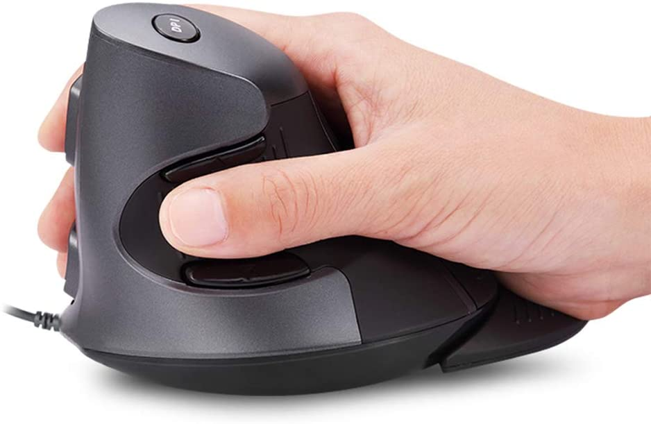 DELUX Upgraded Wired Ergonomic Vertical Mouse, Large Ergonomic Computer Mouse with 6 Programmable Buttons, 4200DPI, Removable Rest and for Reduce Wrist Pain for PC Computer Laptop (M618BU-Black/Grey)