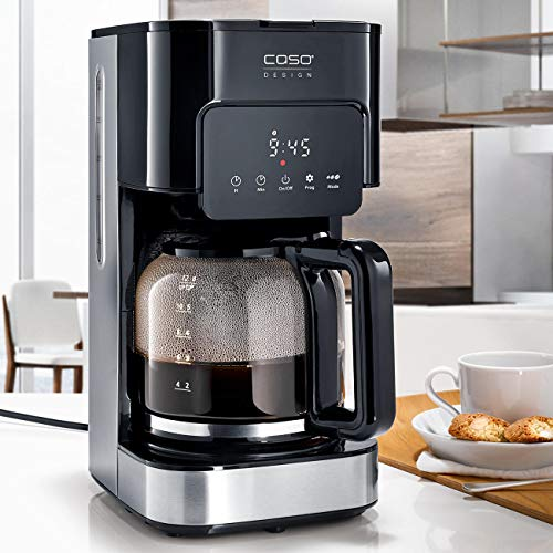 CASO Coffee Taste and Style Kaffeemaschine mit Permanentfilter, 1,5 l, optimale Brühtemperatur 92-96 °C, Tropf-Stopp, optimierter Brühkopf, Edelstahl