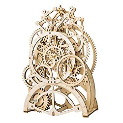 DIY 3D Wooden Puzzle Laser-Cut Mechanical Wind-Up Puzzle Model Kit, Premium Quality Wood, Non-Toxic and Safe. (Pendulum Clock)