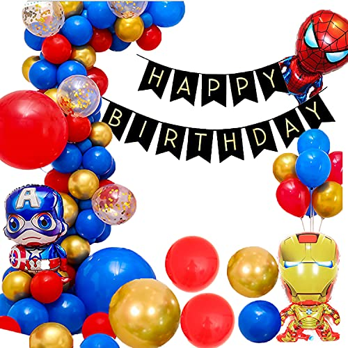 98 PCS Superhero Themed Balloon Garland Arch Kit,Gold Red Blue Latex Balloons Party Balloons for Birthday Decoration Party Supplies Wedding Party Decoration Supplies