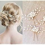 パール ヘアクリップ ヘアピン ヘアアクセサリー ブライダル 結婚式 ウェディング パーティー花嫁 ヘッドドレス 髪飾り【J's select】 (3個)