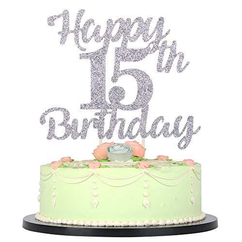Peachy Lveud 15Th Birthday Cake Topper For Happy Birthday 15 Silver Funny Birthday Cards Online Amentibdeldamsfinfo