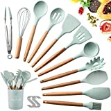 SaiXuan Utensili Cucina Set,Set di Utensili da Cucina in Silicone,Resistente al Calore con Manico...