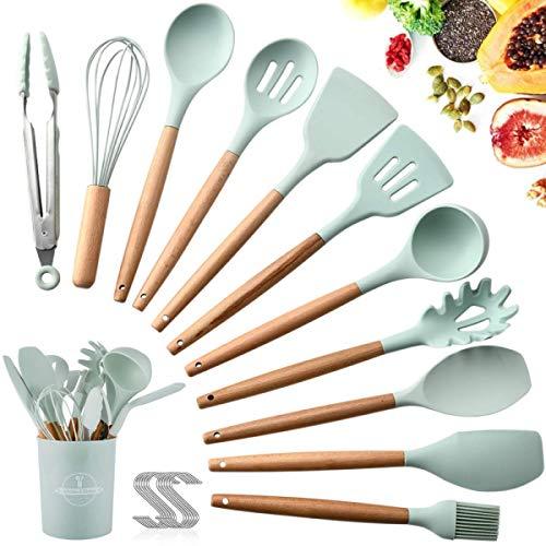 SaiXuan Kochbesteck 12er Küchenutensilien silikon,Antihaftes Hitzebeständiges Küchenhelfer Set mit Holzgriff,Aufbewahrungsbehälter,12 S-Haken (Grün)