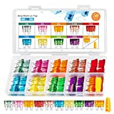 Chanzon UL Listed ATC Fuse Kit 50pcs 2A 3A 5A 7.5A 10A 15A 20A 30A 35A 40A (ATO APR Standard) 10 Values 5 Each 32V 12V Blade Fuses Car Truck RV Automotive Motor Boat Replacement Assorted Assortment