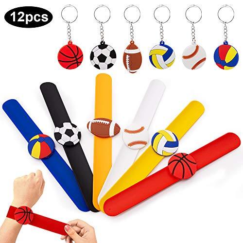 specool Silikon Slap Bracelets Fußball Schnapparmband Slap Armband Sport-Ball-Motto-Party Schlüsselanhänger für Party Bag Füllstoffe für Weihnachten Geburtstagsgeschenke Mitgebsel