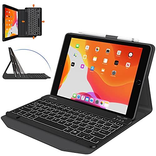 OMOTON Tastiera con Custodia per iPad 10.2 2019 7a Gen/ 8a Gen 2020/ iPad Air 3 / PRO 10.5'' 2017, Cover Tastiera Retroilluminata Bluetooth Staccabile, Layout Italiano QWERTY, Nero