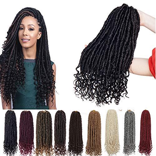 6 Packs 16 inch Fauxs Locs Crochet Hair Goddess Crochet Braids Full Head Hair Extensions Synthetic Fibre Kanekalon Box Braid Braiding with Wavy Curly Ends for Women Dark Black