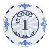 Brybelly Scroll Poker Chip Lightweight 10-Gram Casino Grade Ceramic – Pack of 50 ($1 White)
