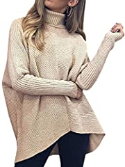 Material - Chunky knit sweater, made of high quality knitted fabric, super comfortable and stretchy Design - The oversized sweaters feature turtleneck, long batwing sleeve, irregular hem, baggy fit, sweater dress, very flattering at the back as it co...