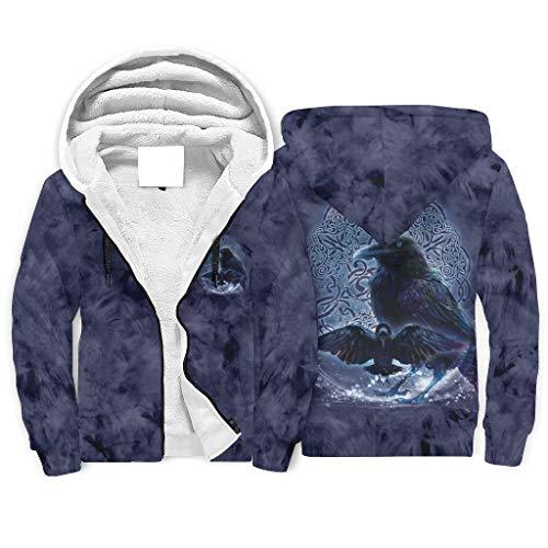 Ballbollbll Herren und Damen Viking Odins Crow Hoodie Top flexibel Langarm Arbeitskleidung Kapuzen-Sweatshirts Mäntel mit Reißverschluss, Kordelzug und Tasche Gr. Large, weiß