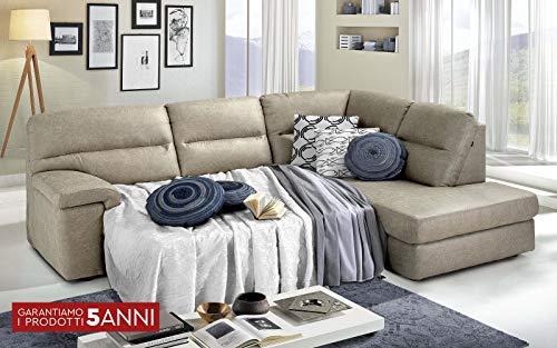 Dafnedesign.Com - Sofá cama esquinero de 3 plazas con chaise longue a la derecha Tejido Tay Tay Sand (cm. 252 x 196 x 96h
