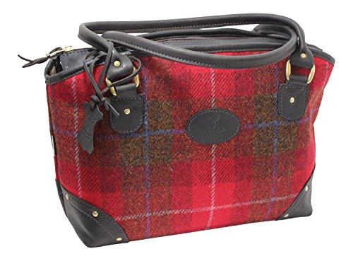 Wild Scottish Deerskin - Bolso de piel de ciervo con diseño de cuadros escoceses, color rojo