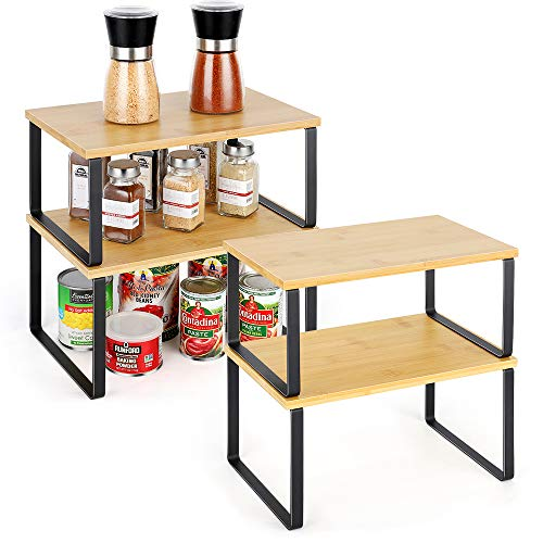 Kitchen Cabinet Shelves Stackable Cabinet Organizer Spice Rack Storage Rack for Closet Pantry Expandable Bamboo Set of 4