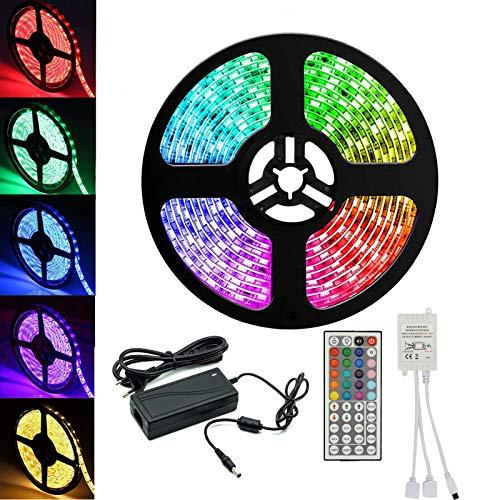 LED Streifen Set RGB Strip Kit, Smart RGB LED Strip Lichtleiste Arbeitet mit Fernbedienung 12V 5M 5050SMD LED Bänder Lichterkette mit Netzteil & IR 44key Controller