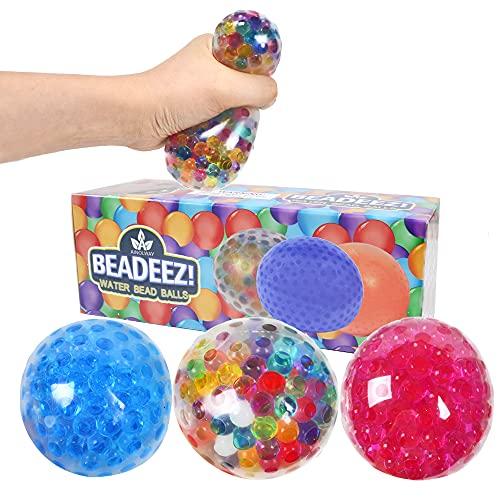 AINOLWAY Lot de 3 balles Anti-Stress pour Enfants et Adultes - Balles spongieuses Anti-Stress de qualité supérieure avec Perles de Gel - Soulage la Tension, l'anxiété et améliore la Concentration